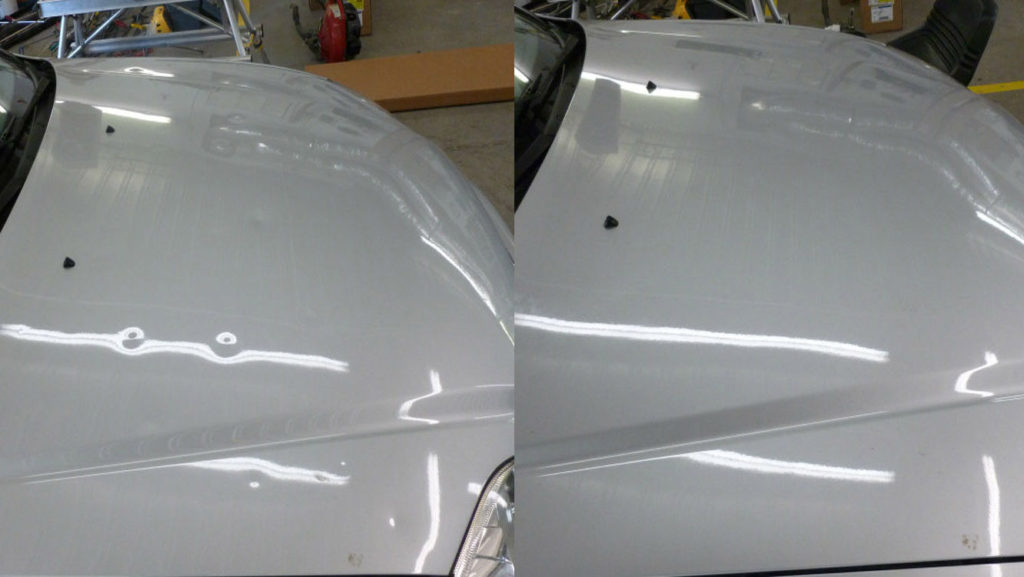 before after picture of paintless dent removel